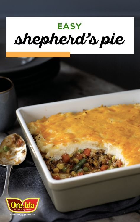 Easy Shepherd S Pie Start With A Base Of Ground Beef Mixed Vegetables And Gravy Then Top With Mashed Potatoe Easy Shepherds Pie Shepherds Pie Baked Dishes