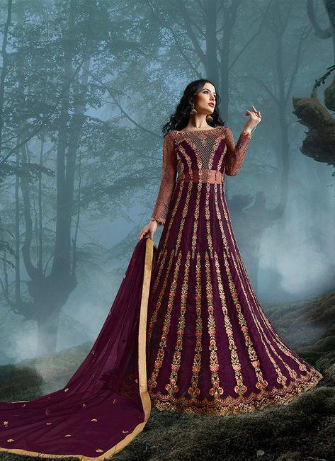 Embroidered Net Floor Length Anarkali Suit in Wine