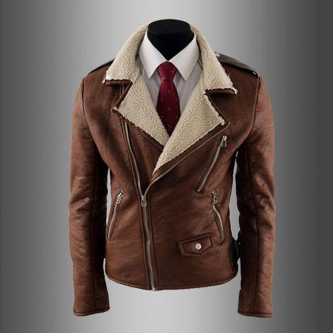 96917604fe6bf Vintage deri ceket erkekler kuzu kürk coat toplama yaka erkek deri ceket  erkek slim fit deri giyim erkek kürk kahverengi(China (Mainland))