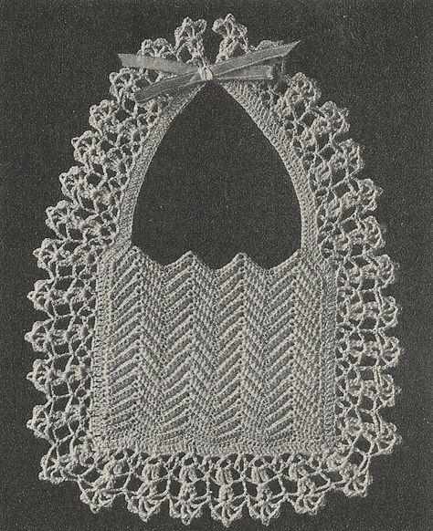 Heirloom christening bib vintage baby crochet pattern PDF
