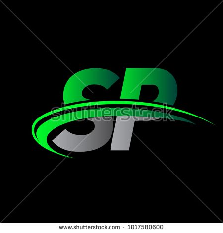 Initial Letter Sp Logotype Company Name Colored Green And