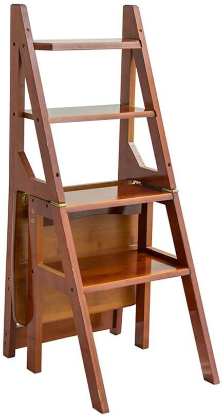 Step Stool, Multi-Function Household Folding Ladder Vintage Creative Chair Solid Wood Step Stool (Color : #1)