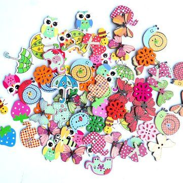 50pcs Christmas Theme Wood Buttons for Sewing Scrapbook Clothing Handmade Decor
