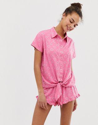 8deb5293e Chelsea Peers love heart printed pyjama short set in pink in 2019 ...
