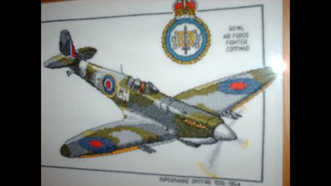 Heritage Crafts Supermarine Spitfire Counted Cross Stitch Kit 14 Count Aida