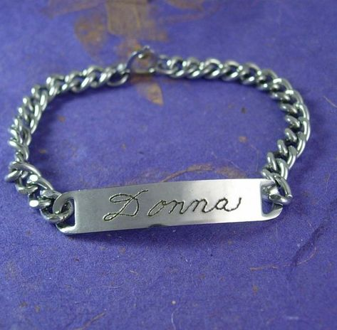 Vintage Silver DONNA ID Bracelet 7 Inch Chain Personalized Womens Jewelry Hong Kong Birthday Gift