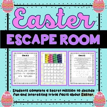 Easter Escape Room Fun Trivia Facts Holiday Activity Print Go Escape Room Holiday Activities Escape Room For Kids