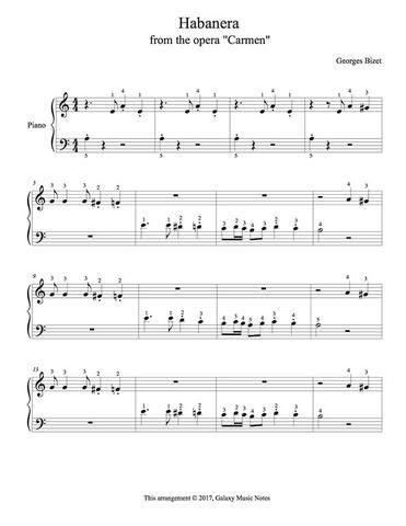 Habanera From Carmen Level 1 Piano Sheet Music With Images