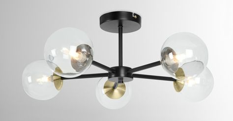 Globe Chandelier, Black Antique Brass and Smoked Glass