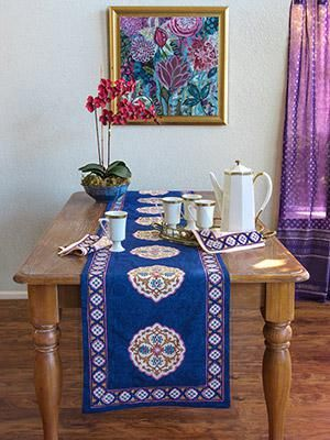 Sultans Palace Royal Blue Moroccan Boho Table Runner Blue