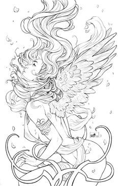 Of Angels by `ToolKitten on deviantART Make your world more colorful with free printable coloring pages from italks. Our free coloring pages for adults and kids. Fairy Coloring Pages, Adult Coloring Book Pages, Colouring Pics, Coloring Pages To Print, Printable Coloring Pages, Coloring Books, Colorful Drawings, Colorful Pictures, Line Art
