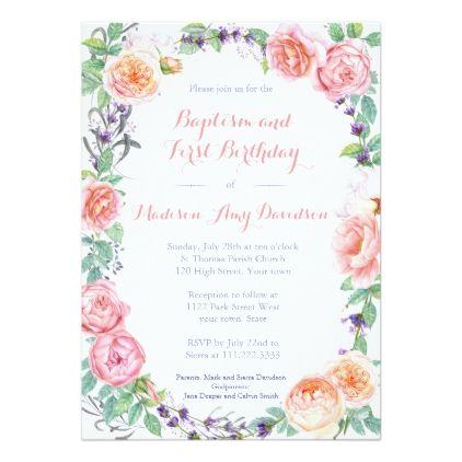 English Garden Florals Baptism 1st Birthday Party Invitation Zazzle Com 1st Birthday Party Invitations 1st Birthday Invitations Birthday Party Invitations