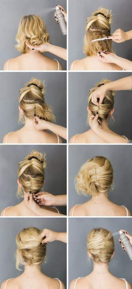 Super Wedding Hairstyles Step By Step Up Dos French Twists Ideas Short Hair Styles Easy Short Hair Updo Tutorial Short Hair Styles