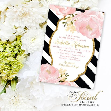 Romantic Garden Peonie Flowers Blush Pink and Gold Black and White Stripes Bridal Shower Invitation