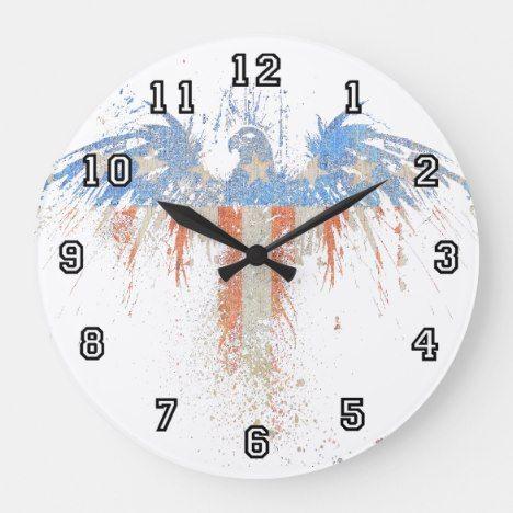 Patriotic Eagle American Flag Wall Clock Zazzle Com Wall Clock American Flag Clock
