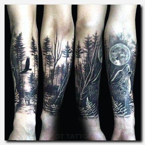Wolftattoo Tattoo Tattoovorlagen Armband Four Arms Tattoo Japanese Tattoo Ideas For Guys Tattoo Sta Forest Tattoos Wolf Tattoo Sleeve Forest Tattoo Sleeve