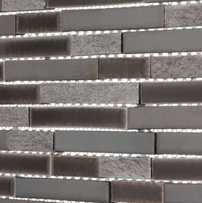 MS International Mosaic Tile Titan Interlocking Porcelain and Stone Mesh Mounted