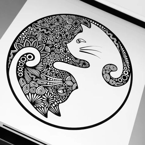 Do you see it? ⚫️🐱⚪️ Yin Yang cat waterproof sticker available now! link in bio! #zenspiredesigns