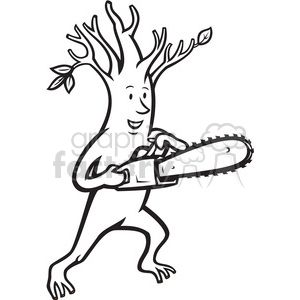 Black And White Tree Man Chainsaw Black And White Tree Black And White Clip Art