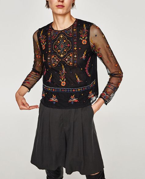 EMBROIDERED TULLE TOP-View all-TOPS-WOMAN | ZARA United Kingdom