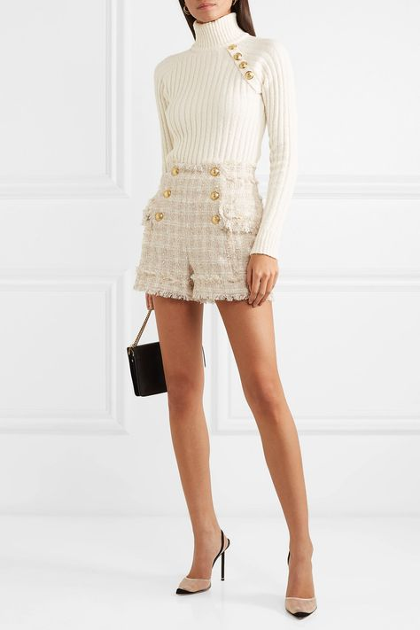 Balmain Button-embellished tweed shorts - Chanel Dresses - Trending Chanel Dress for sales - Balmain