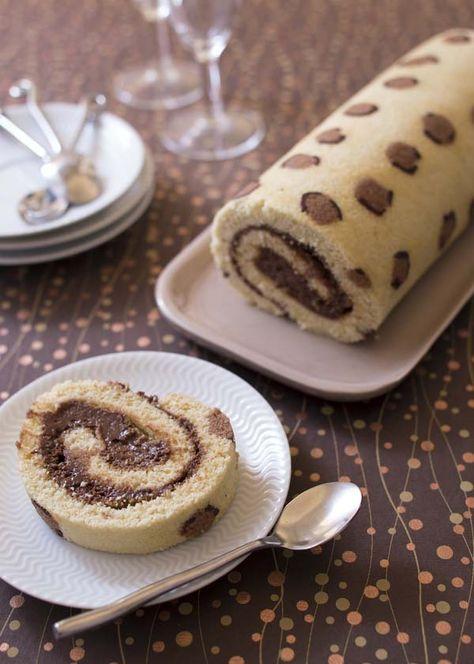 Gâteau roulé Léopard à la mousse au chocolat praliné - recette de cuisine Odelices - tutoriel en images pas à pas sur le site www.odelices.com