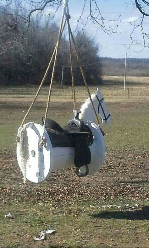 This is a swing, but along that same line, one of these would make an easy saddle rack (Diy Baby Furniture)