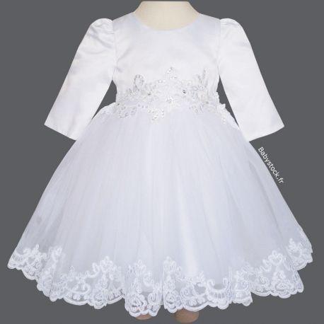 Robe De Bapteme Tres Chic A Manches Longues En Satin Blanc Tulle Et Dentelle Victoria 39 99 Robe Bapteme Dentelle Robe