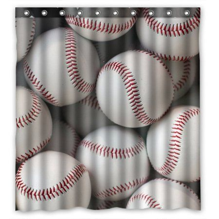 Home Fabric Shower Curtains Baseball Bathroom Curtains
