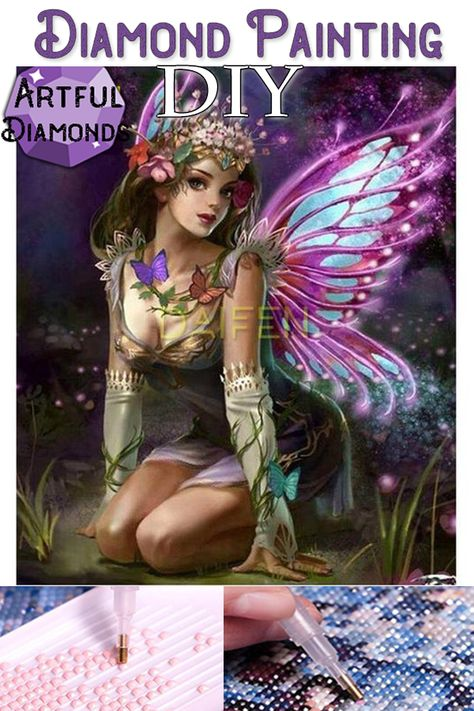 Butterfly Night Fairy DIY Diamond Painting Kit For Beginners. Instant stress relief for anxiety treatment. Makes a beautiful gift or home decoration once finished and framed! #diamondpainting