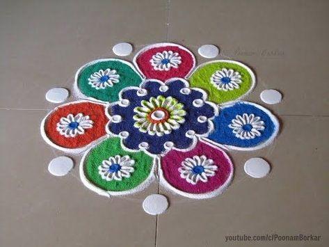 Diwali special easy colorful rangoli design