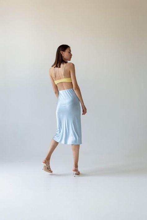 Silk slip skirt midi Baby blue silk satin skirt Silk slip bias   Etsy