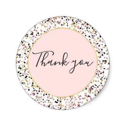 Glitzy Gold Pink Black Confetti Dots Thank You Classic Round Sticker Girly Gifts Special Unique Gift Idea Custom Black Confetti Confetti Dots Gold Stickers