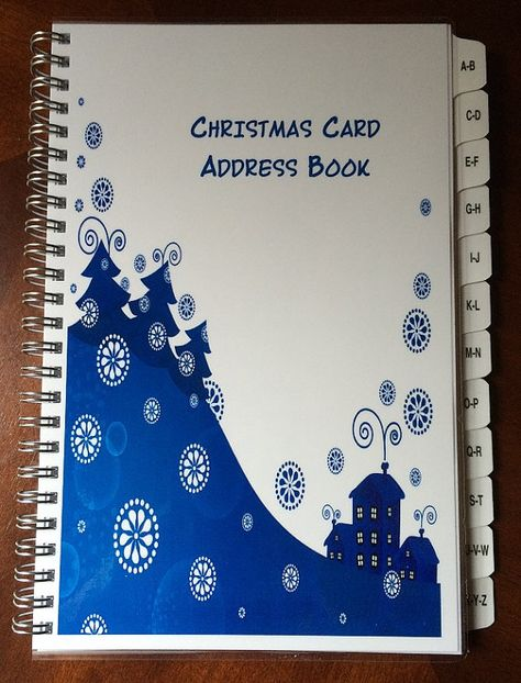 christmas card address book a z tabs personalized gift blue tree