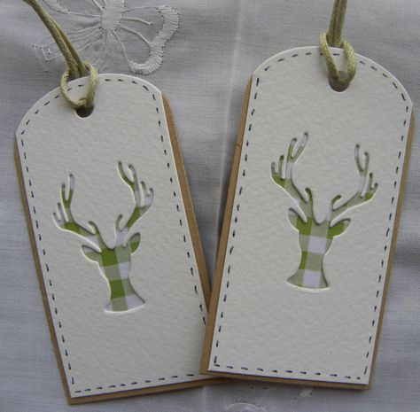 Would be cute simple Christmas tags.....maybe glitter paper underneath