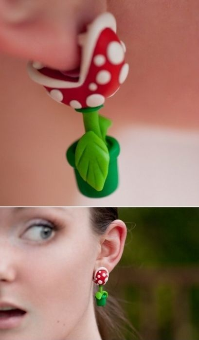 """tcfusion: """" Nintendo Mario YOUCH Piranha Plant Earrings """" Super awesome accessory for any Mario Nintendo fan! This Piranha Plant earring set made of polymer clay will sure put a bite in your day!"""
