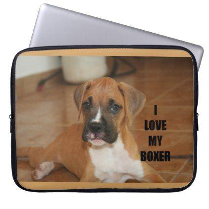 5e466ac25a44 boxer love w pic fawn puppy laptop sleeve | Zazzle.com | boxer puppy ...