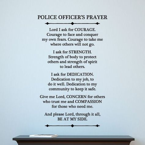 Police Officer Prayer Wall Quote Decal Inspirational Motivational Wall Art Vinyl Wall Decal Blue Lin