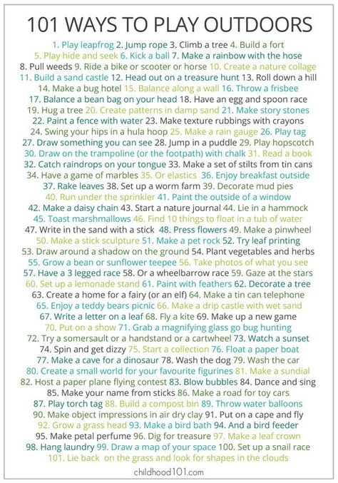 The perfect antidote to the 'I'm boreds!' - 101 Ways to Play Outdoors free printable poster
