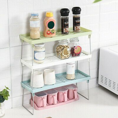 Durable And Stable Usable In Cabinets On Shelves Or In Pantry S Kindly Note Rack Only 1 K Bathroom Countertop Storage Countertop Storage Fridge Storage