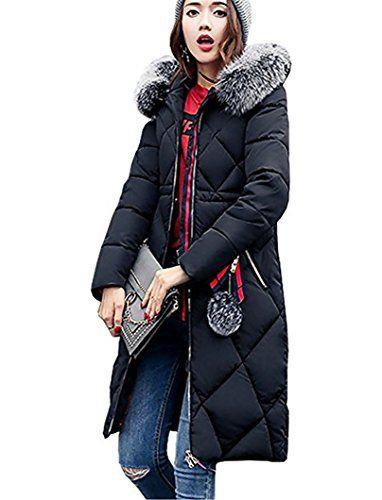 gut kaufen verrückter Preis begrenzter Stil HAOKTY Damen Wintermantel Lang Parka mit Fellkapuze ...