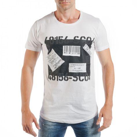 cbe3347a0ffb Ανδρική λευκή κοντομάνικη μπλούζα με σχέδια tsf250518-62