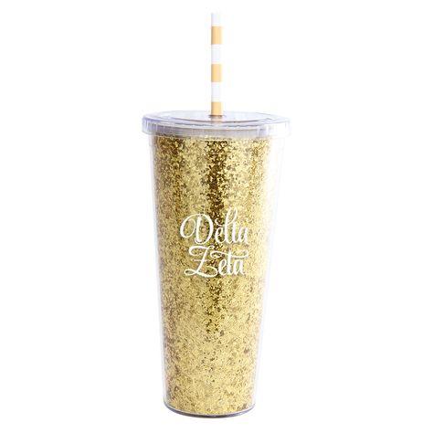 Delta Zeta Tumbler: Super Big Gold Glitter Tumbler with Straw - Large Gold Glitter Sorority Tumbler. - Sorority name in white lettering. - Screw on Lid with Gold & White Straw. - Reusable. BPA free an