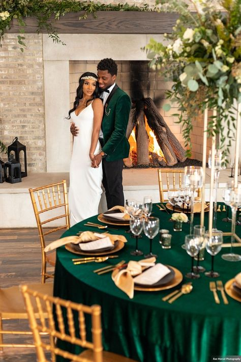 Emerald Gold Black Elopement at Iron & Ember in Carmel, In Wedding Goals, Wedding Planning, Dream Wedding, Emerald Wedding Colors, Green Wedding Decorations, Emerald Green Weddings, Green And Gold, Wedding Color Schemes, Wedding Inspiration