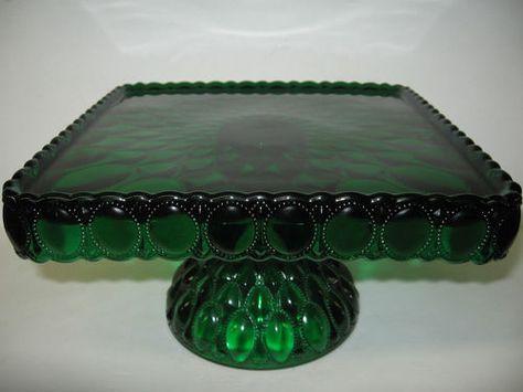 Square hunter green Glass cake serving stand plate platter pedestal raised tray | eBay