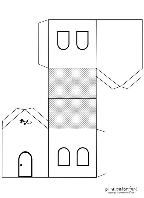 House Cutout Craft To Color Print Fun Free Printables Coloring Pages Crafts Puzzles Cards Glitter Houses Pinterest