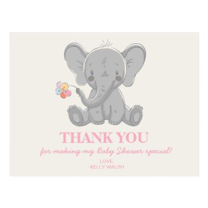 Elephant baby shower thank you note postcard elephant baby showers negle Image collections