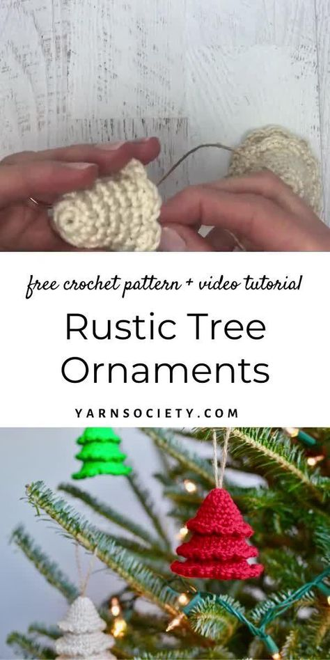 This beginner friendly crochet tutorial will walk you through making a rustic tree ornament. These ornaments are quick to work up and look beautiful in any color. Rustic Tree ornaments also make the perfect Christmas gift.