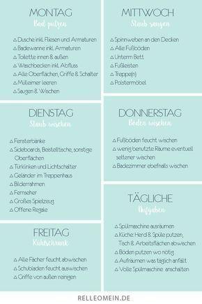 Relleomeinde Wchentlicher Kostenloser Putzplan Download Sauberes Zuhause Vorlage Putzen Stun Weekly Cleaning Plan Weekly Cleaning House Cleaning Tips