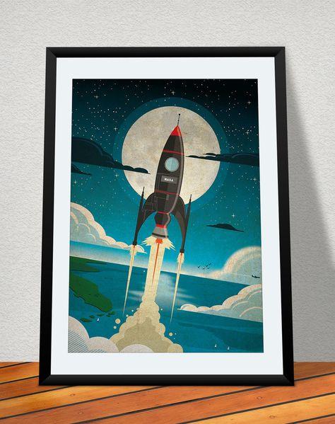 retro astronaut posters - 474×599